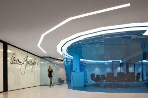 """Insurance broker Arthur J Gallagher at The Walbrook Building in London received the award for the best """"fit out"""" of a workplace. The design focuses on two oculus-shaped atria spaces."""